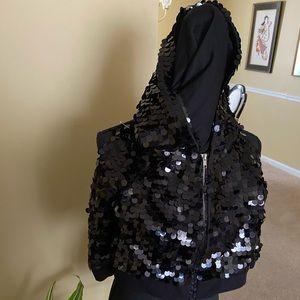 Black sequin cropped zip up jacket